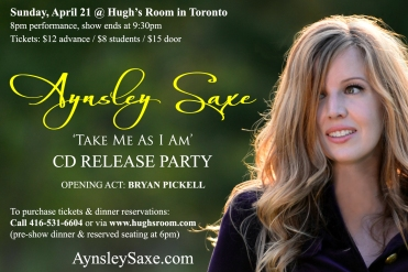 CD Release Party AynsleySaxe.com April 21 Hughs Room
